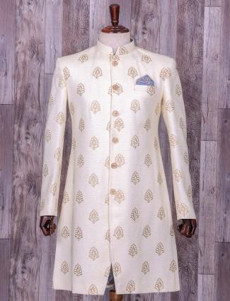Terry rayon cream color wedding wear indo western