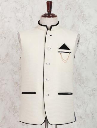 Terry rayon cream hue waistcoat