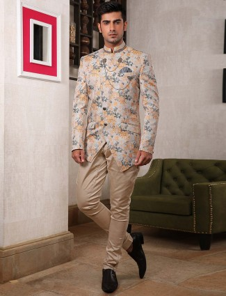 Terry rayon cream party wear jodhpuri suit