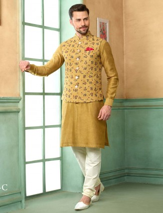 Terry rayon fabric beige color printed waistcoat set