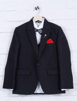 Terry rayon fabric black hued solid tuxedo suit