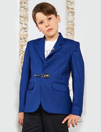 Terry rayon fabric blue blazer