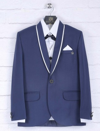 Terry rayon fabric blue color tuxedo suit