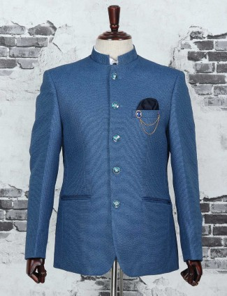 Terry rayon fabric blue jodhpuri blazer