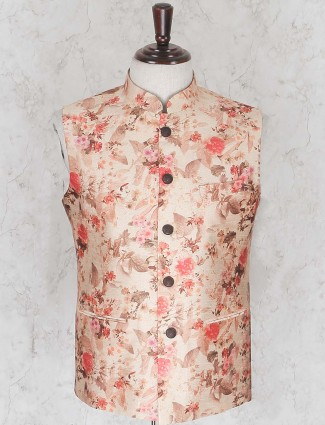 Terry rayon fabric cream hue waistcoat