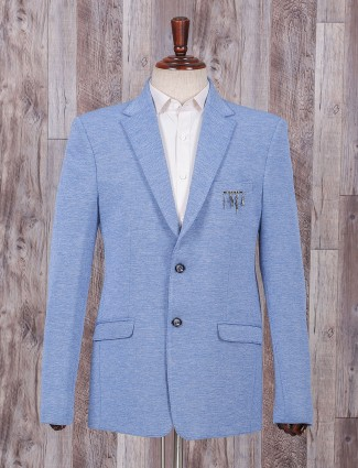 Terry rayon fabric light blue blazer