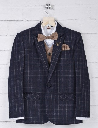 Terry rayon fabric navy one buttoned tuxedo suit