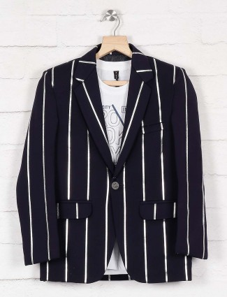 Terry rayon fabric party navy hue blazer