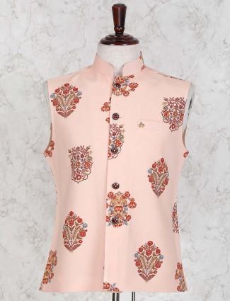 Terry rayon fabric peach printed waistcoat