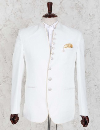 Terry rayon fabric solid white color jodhpuri blazer