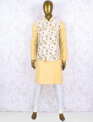 Terry rayon fabric white hue printed waistcoat set