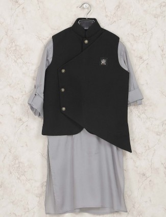 Terry rayon grey and black waistcoat set
