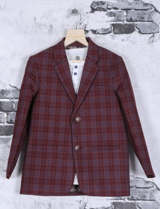 Terry rayon maroon checks pattern blazer