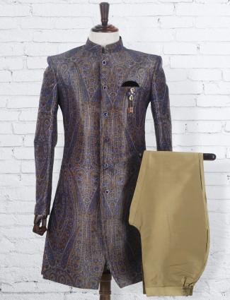 Terry rayon mens printed grey wedding wear indo western