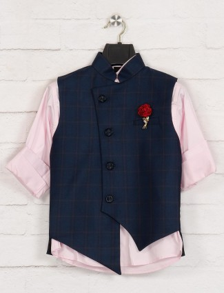 Terry rayon navy and pink checks waistcoat
