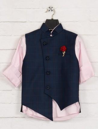 Terry rayon navy and pink checks waistcoat