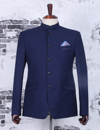 Terry rayon navy jodhpuri suit
