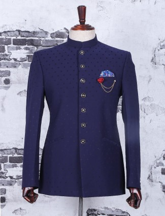 Terry rayon navy jodhpuri suit for wedding