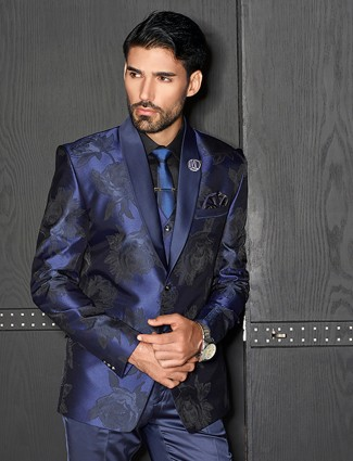 Terry rayon navy party coat suit