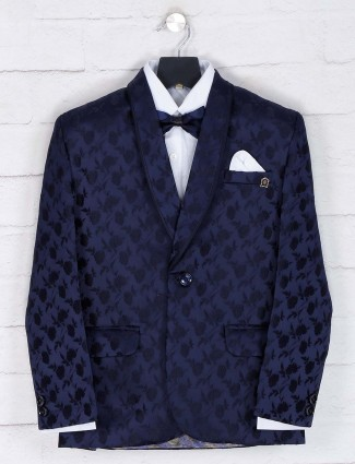 Terry rayon navy solid tuxedo suit