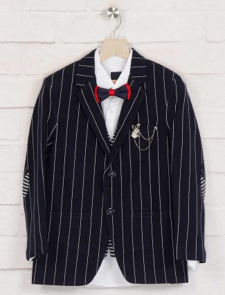 Terry rayon navy stripe blazer