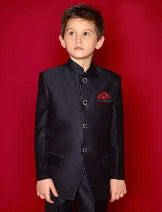 Terry rayon navy wedding wear boys plain jodhpuri coat suit