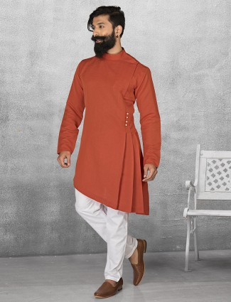 Terry rayon orange color kurta suit