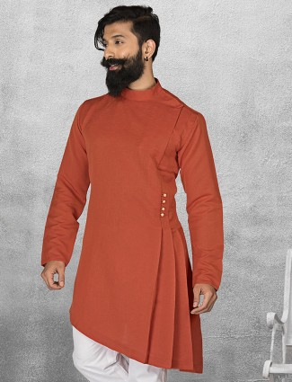 Terry rayon orange color short pathani