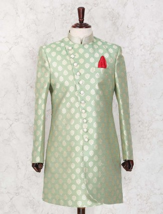 Terry rayon party wear light green indo western