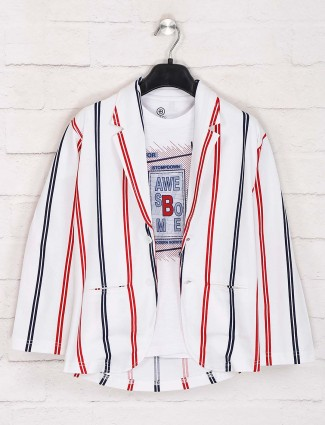 Terry rayon party white stripe blazer