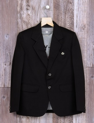 Terry rayon plain black blazer