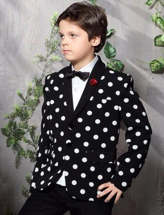 Terry rayon printed black party wear boys blazer