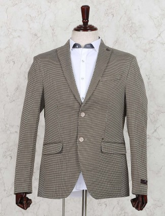 Terry rayon printed khaki colored blazer