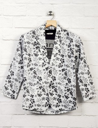 Terry rayon printed off whiite hue blazer