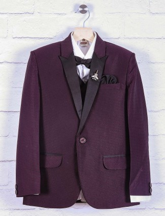 Terry rayon purple solid coat suit