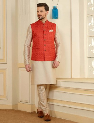 Terry rayon red and beige designer waistcoat set