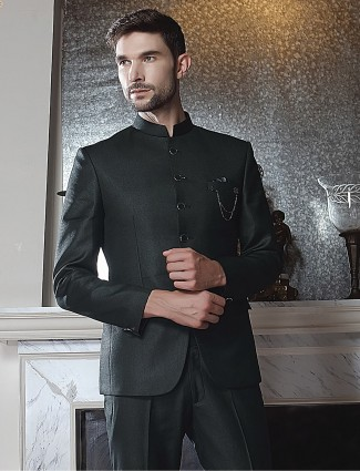 Terry rayon solid black full sleeves jodhpuri suit