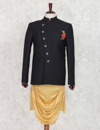Terry rayon solid black hue indo western
