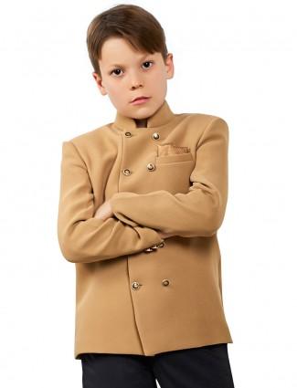 Terry rayon solid khaki jodhpuri blazer