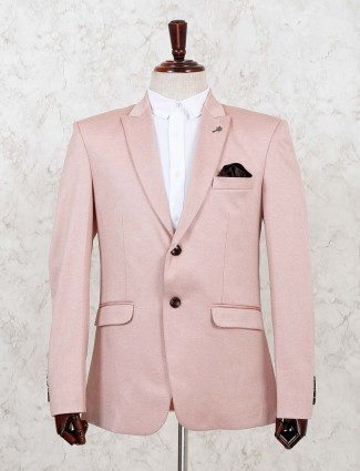 Terry rayon solid pink party blazer