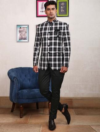Terry rayon tweed pattern white jodhpuri suit