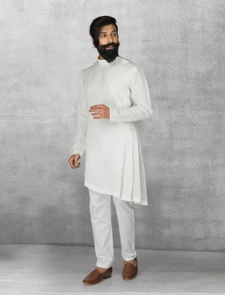 Terry rayon white color kurta suit