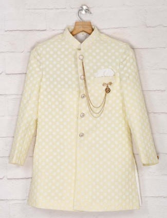 Terry rayon yellow designer wedding indo western