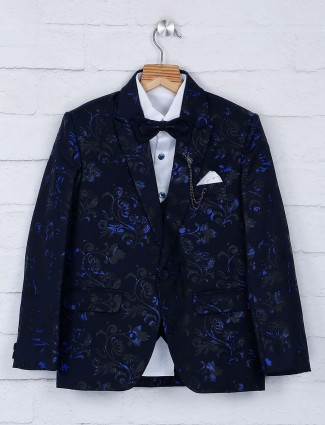 Terry raypm fabric navy hue tuxedo suit