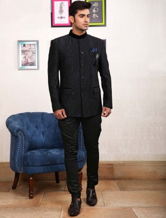 Textured pattern black colored jodhpuri suit