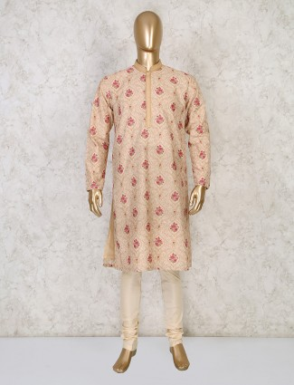 Thread woven beige coton festive wear kurta suit