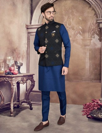 Thread woven black and blue waistcoat set