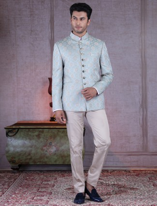 Thread woven designer light blue silk jodhpuri suit