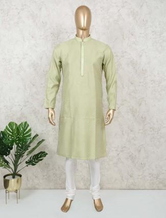 Thread woven green cotton kurta suit mens