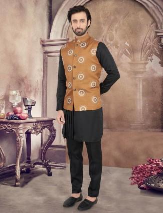 Thread woven light brown and black cotton waistcoat set
